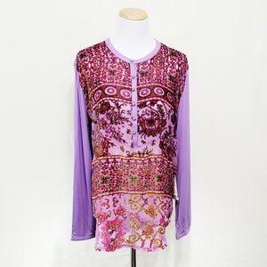 Aratta Silent Journey Tops - Aratta All You See top purple sheer floral velvet